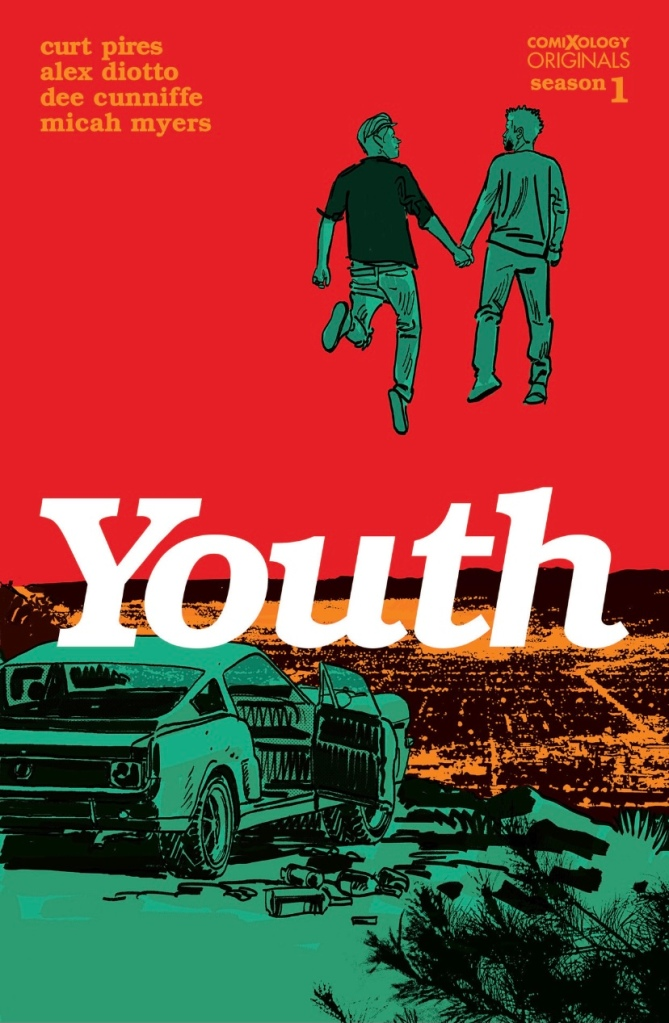 Cover of 'Youth Season One' written by Curt Pires, art by Alex Diotto. Featuring two young men holding hands and floating above a cliff