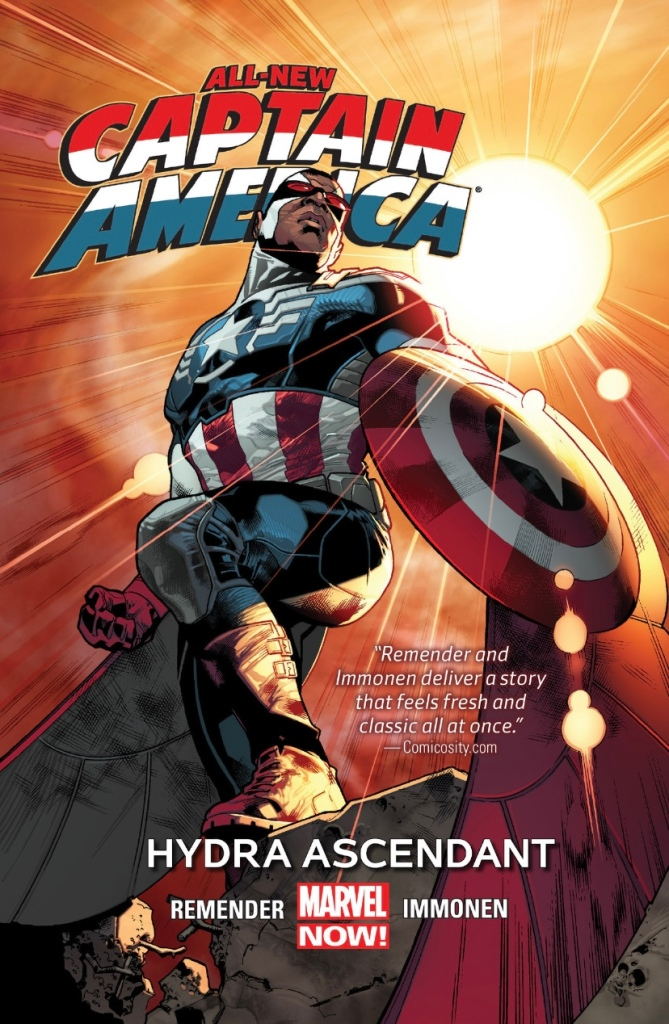 Cover of 'All-New Captain America Vol 1: Hydra Ascendant', written by Rick Remender with art by Stuart Immonen, featuring Sam Wilson as Captain America posing triumphantly with the Captain America shield with the sun shining behind him